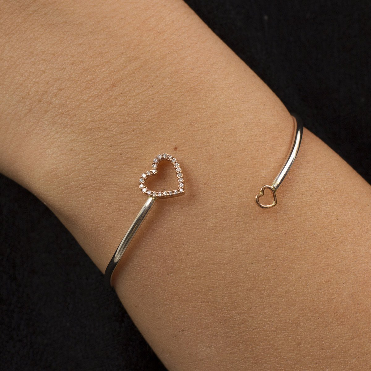 Yellow Gold & Sterling Silver Open Heart Bangle