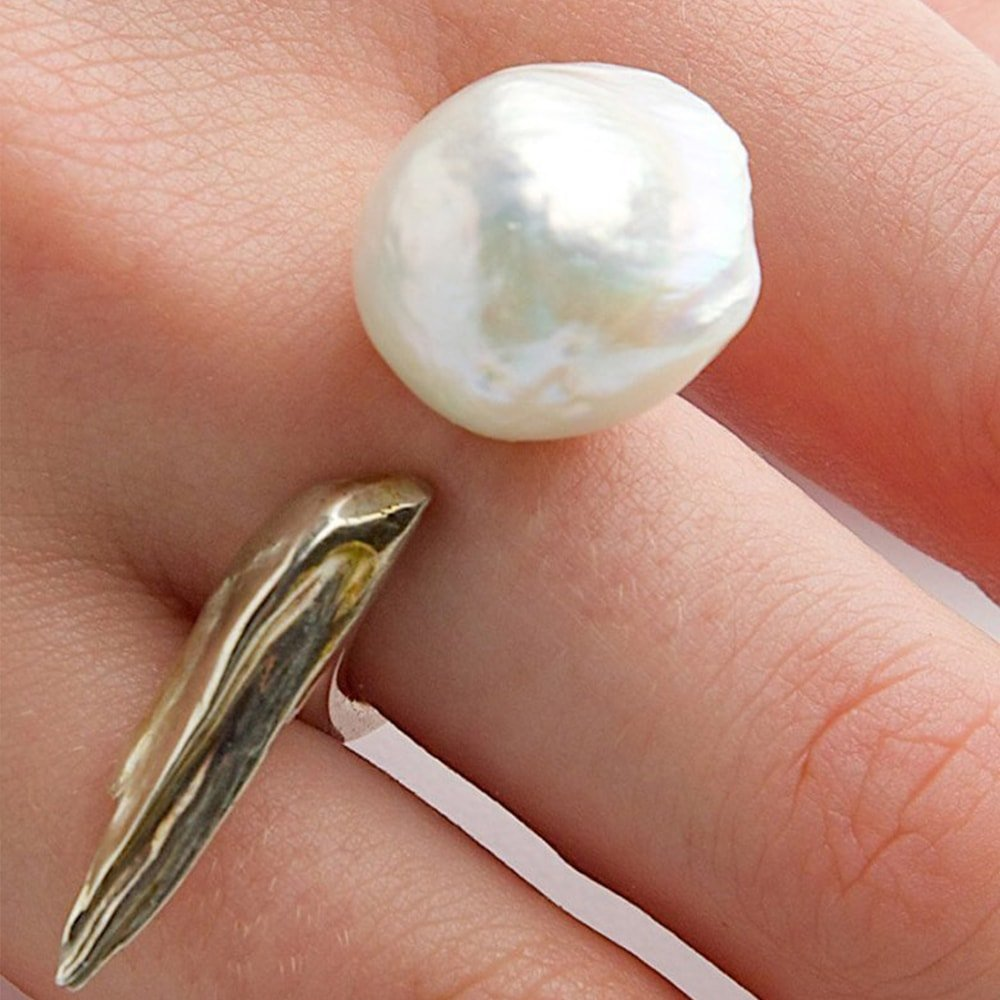 A River Shines Through it. Cultured Pearl Ring, Katura
