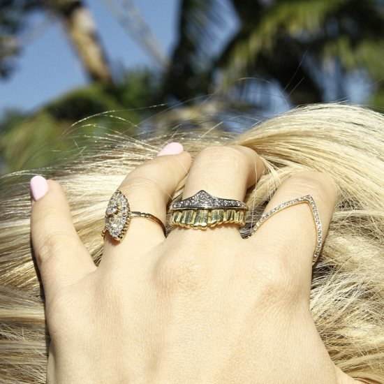 Crown Shape Yellow Gold And Diamond Ring, Alexis Danielle Jewelry