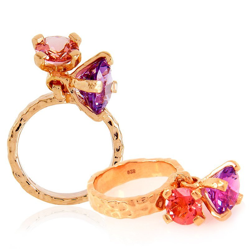 Belle Dangle Amethyst Tourmaline Ring