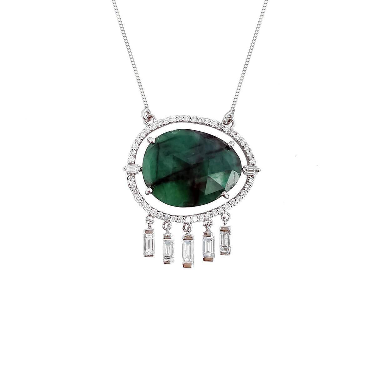 Emerald & Diamond Tassel Necklace