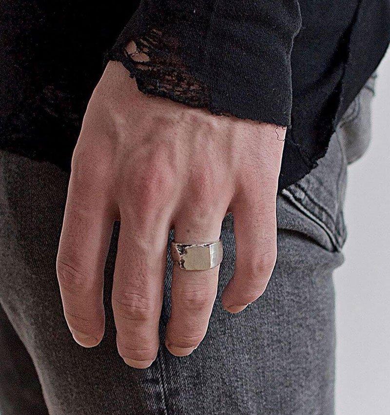 Sterling Silver Carved Signet Ring, Black Rock Jewel