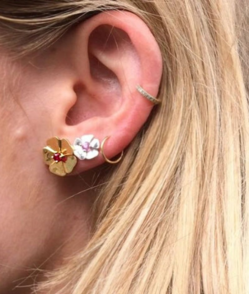 Gold and Ruby Cotswold Earrings, Augustine Jewels