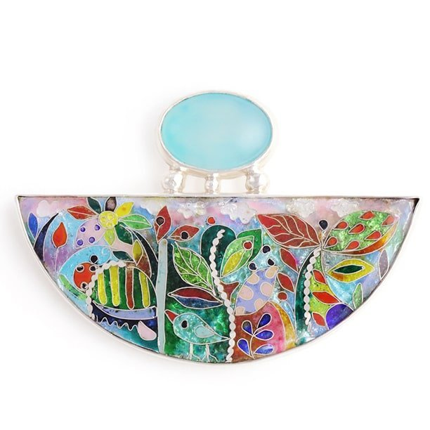 Sterling Silver Blue Spring Pendant With Cloisonné Enamel & Cat's Eye