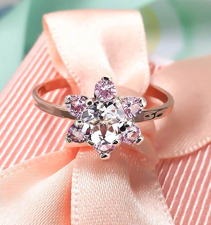9kt Rose Gold & Sterling Silver Fleur Rose Ring,  Bijoux De Chagall