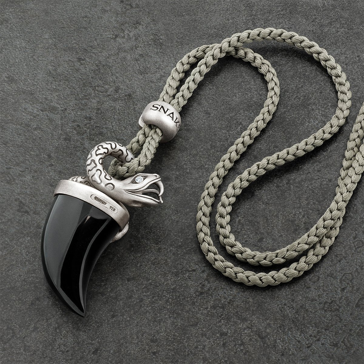 Sterling Silver, Onyx Tusk & Diamond Snake Pendant Necklace | Snake Bones