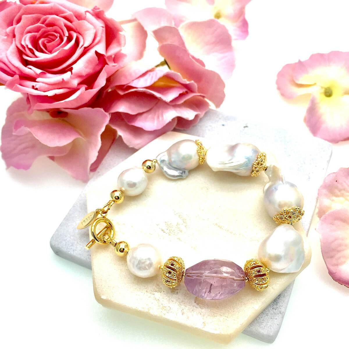 Freshwater Baroque Pearls & Amethyst Bracelet