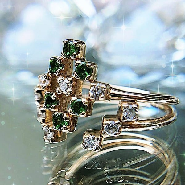 Yellow Gold Svitlana Diamond-Shaped Ring With Tsavorites and Diamonds, Imperfect Grace