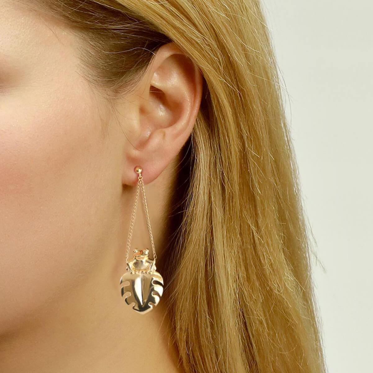 Yellow Gold Plated Frog Earrings