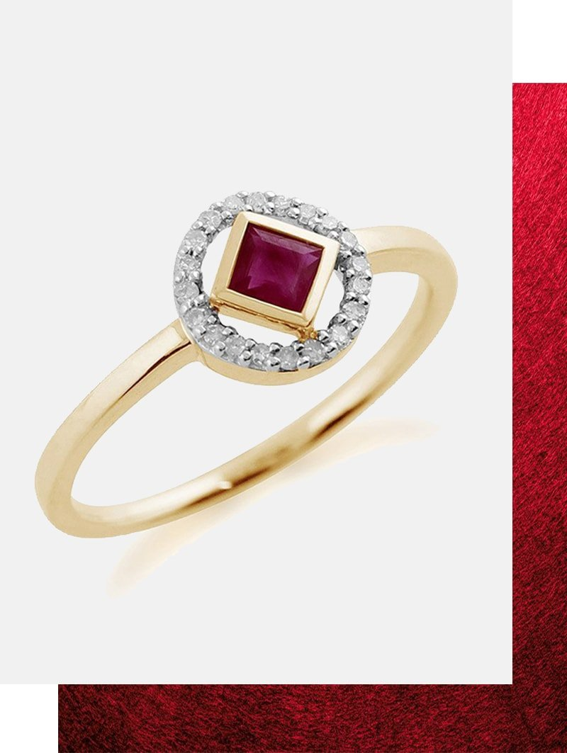 Ruby and Diamond Geometric Halo Ring , Gemondo Jewellery