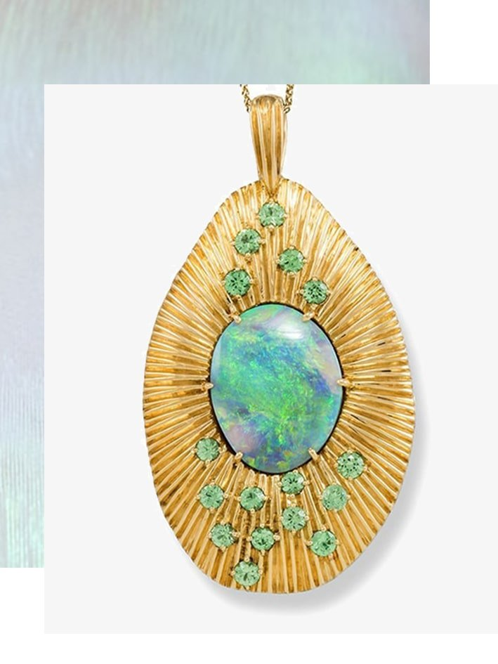Gold, Opal & Garnet Sunrise Necklace - Katherine