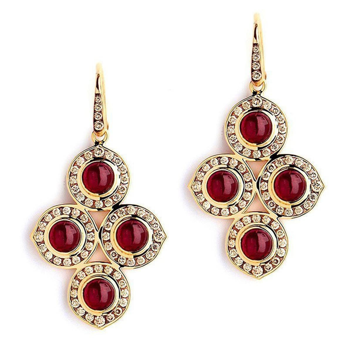 18kt Ruby & Champagne Diamond Earrings, Syna