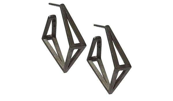 Black Med Kite Hoop Earrings - Stephanie Bates