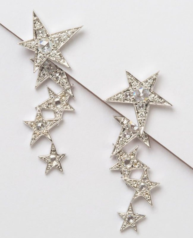 White Gold Rose Cut Diamond Star Earrings, Luis Miguel Howard