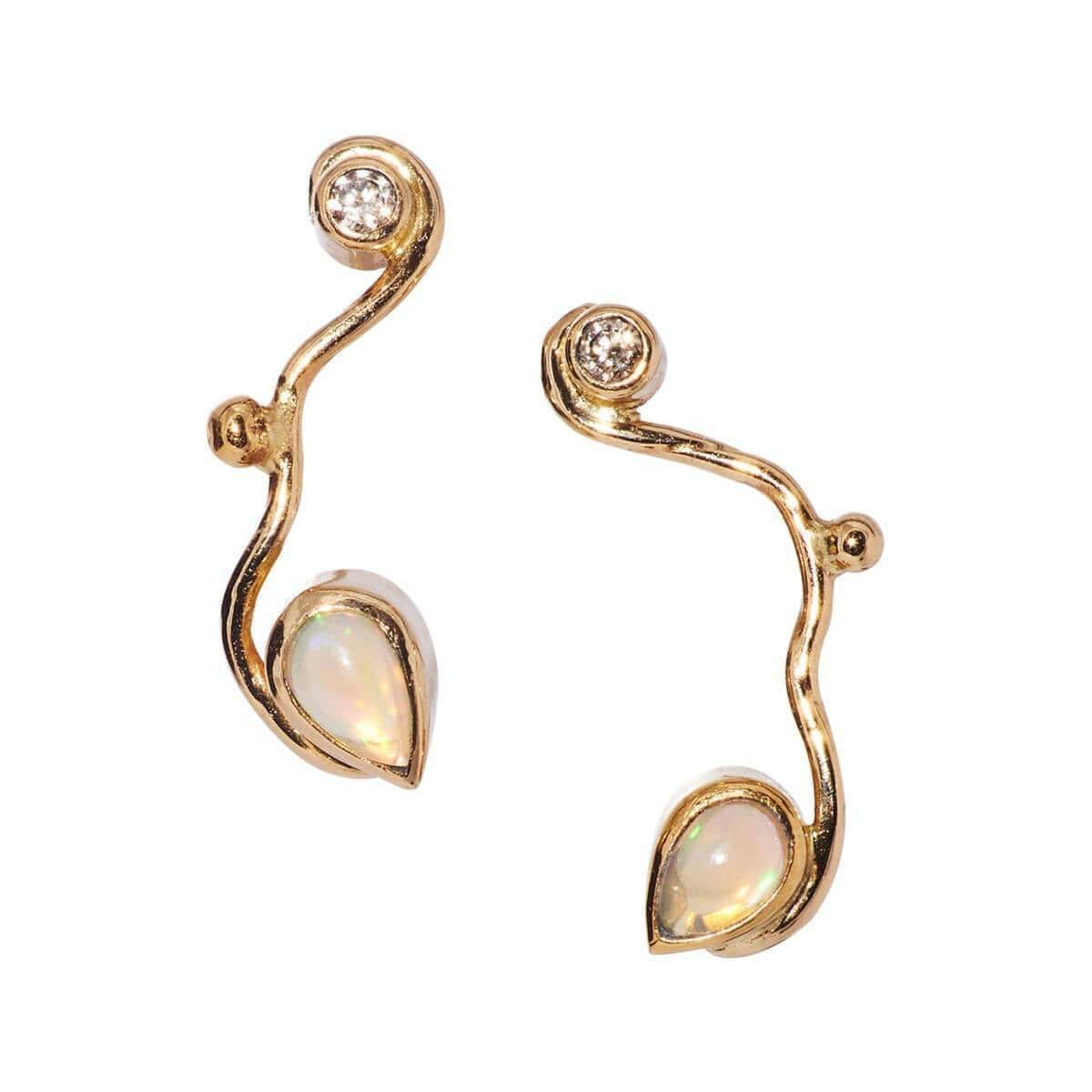 Seafire Earrings With Champagne Diamond And Opal, Bergsoe