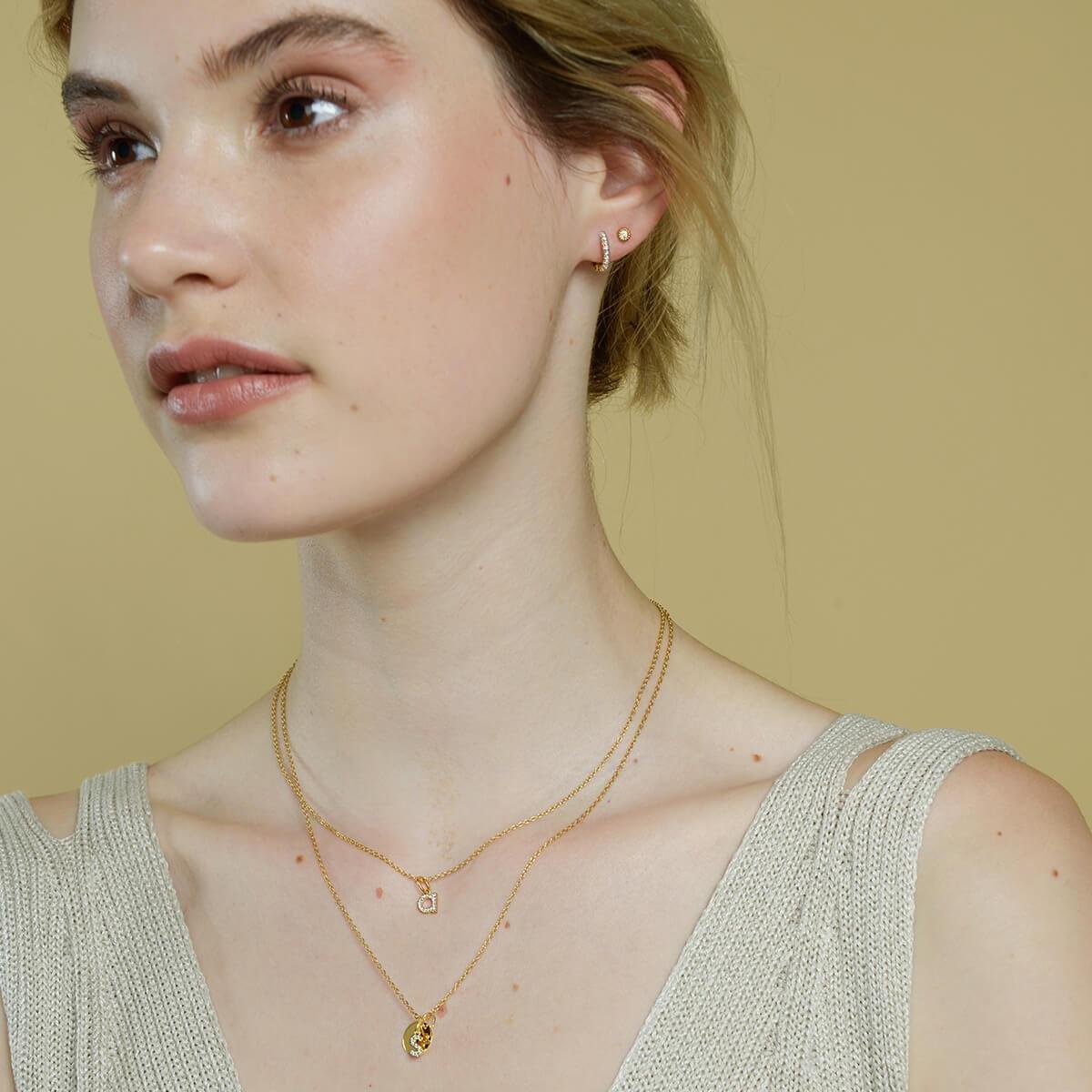 18kt Yellow Gold Vermeil Disc Charm Monogram Diamond Necklace