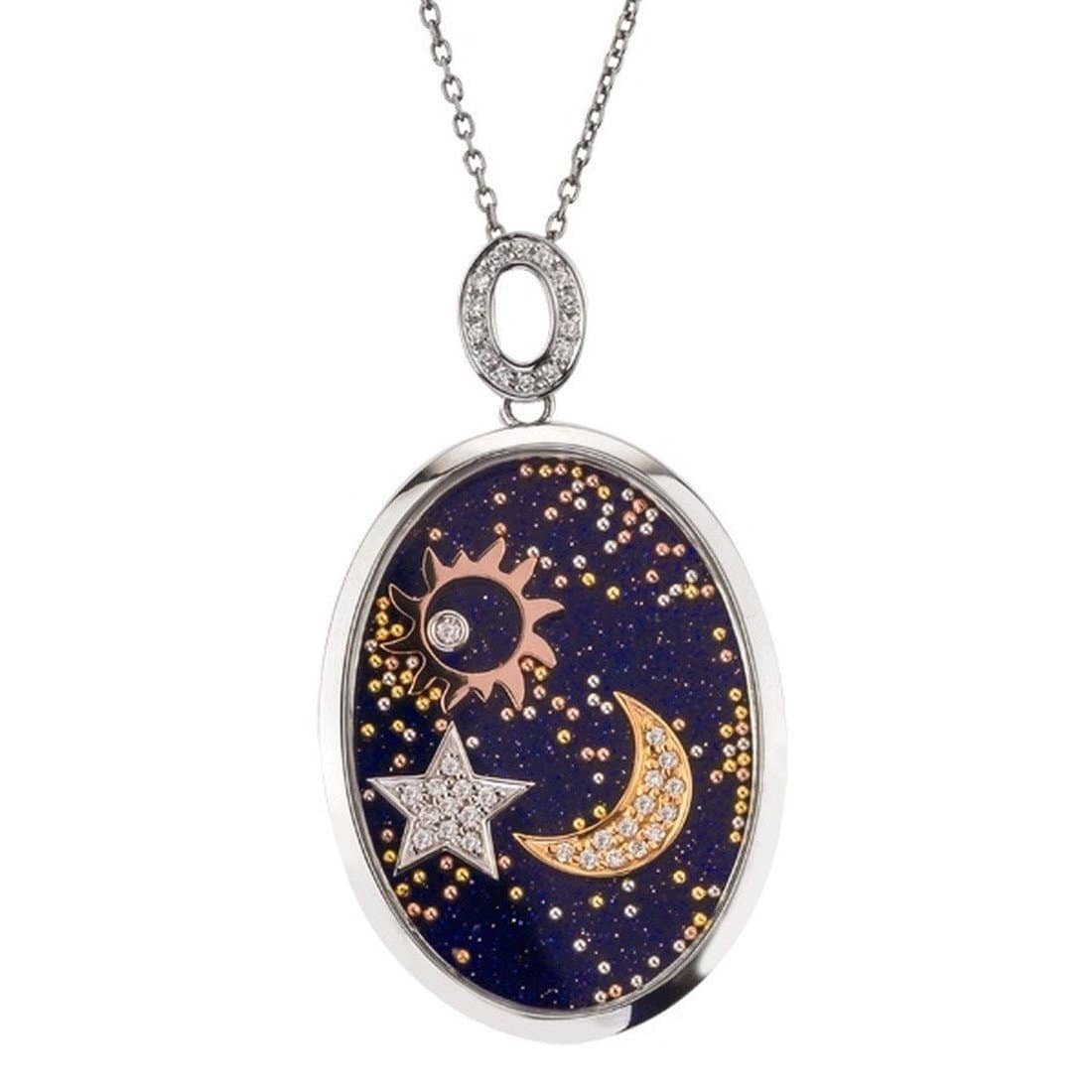 Sun, Moon & Star Over Blue Gold Sandstone