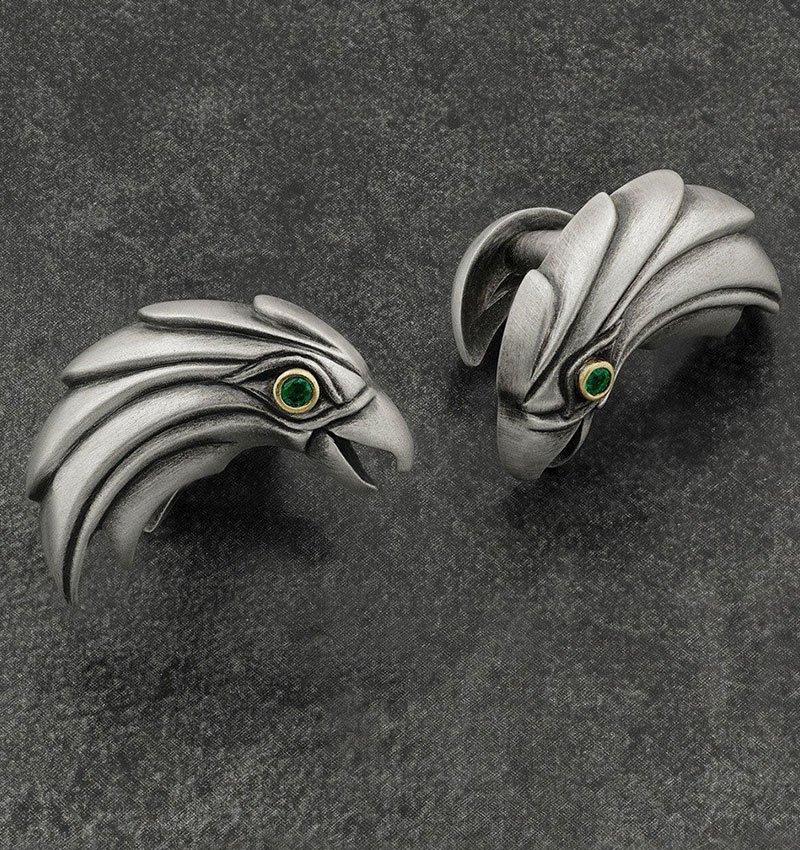 Sterling Silver & Emerald Eagle Cufflinks, Snake Bones
