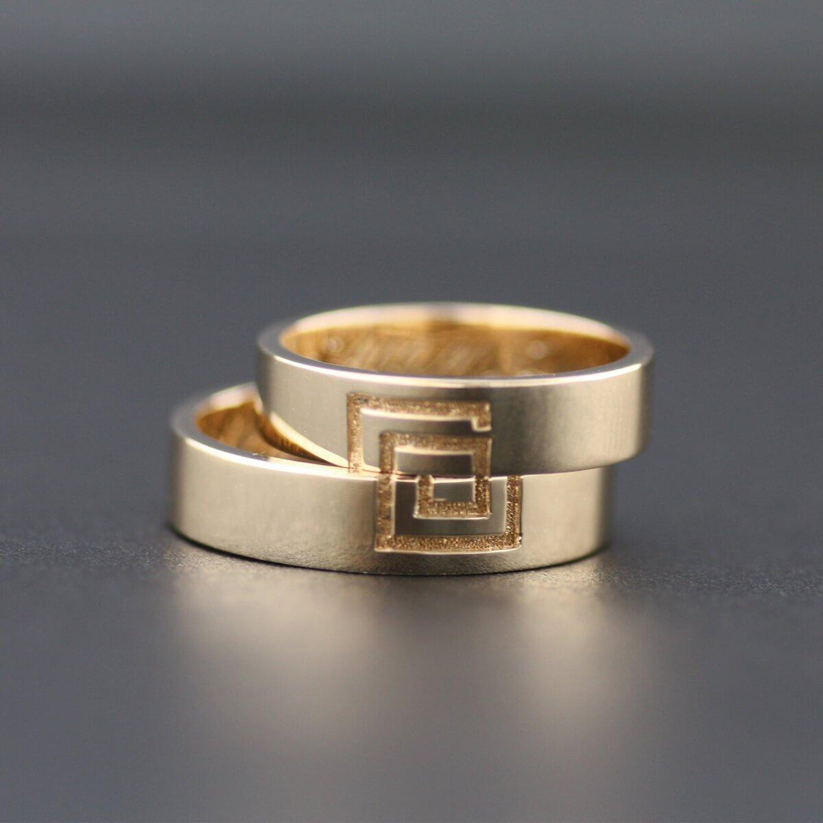 Rose Gold Wedding Band Ring Set