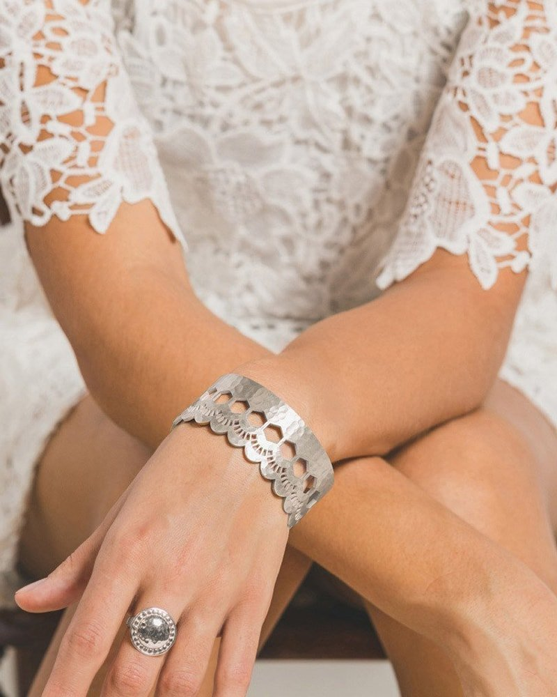 Lace Edge Open Cuff in Sterling Silver, Murkani Jewellery