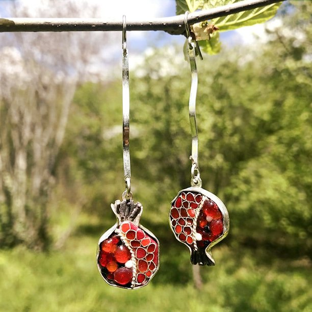 Sterling Silver Pomegranate Earrings With Melted Glass & Cloisonné