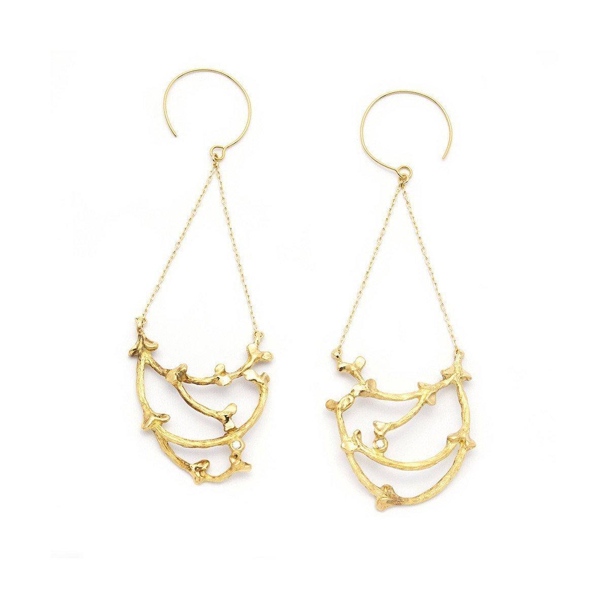 Gold & Diamond Garni Swinging Basket Earrings