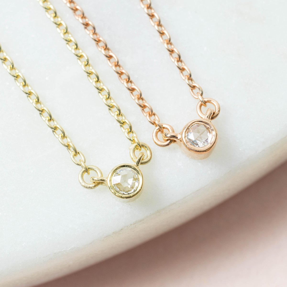 Lone Star Diamond Necklace Rose Gold