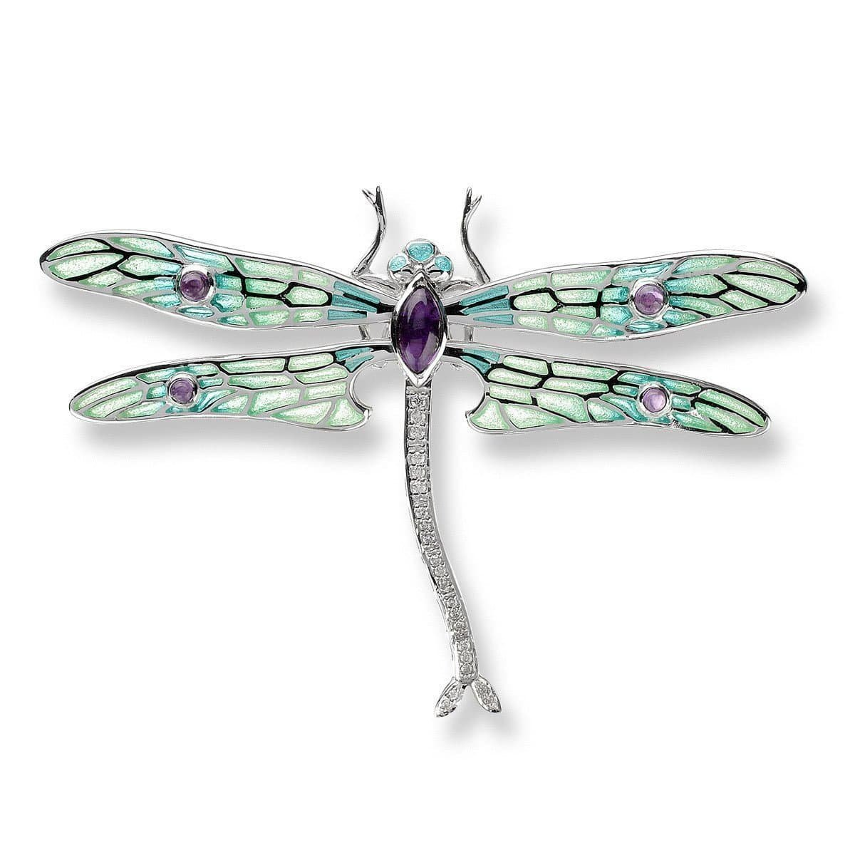 Silver Dragonfly Green Brooch