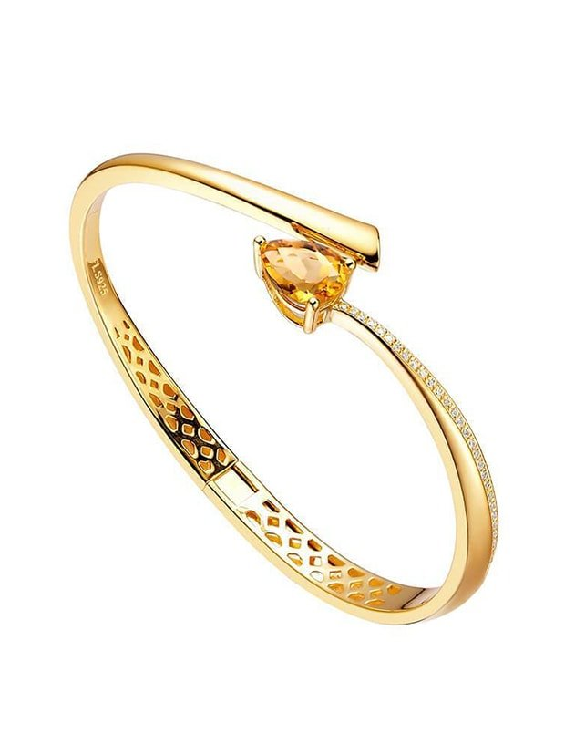 Polished 18kt Yellow Gold Plated Shooting Star Citrine Bangle, Fei Liu
