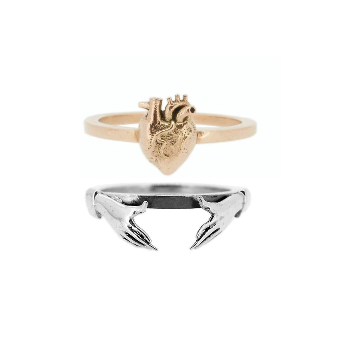 9kt Gold Anatomical Heart & Sterling Silver Claddagh Stacking Rings