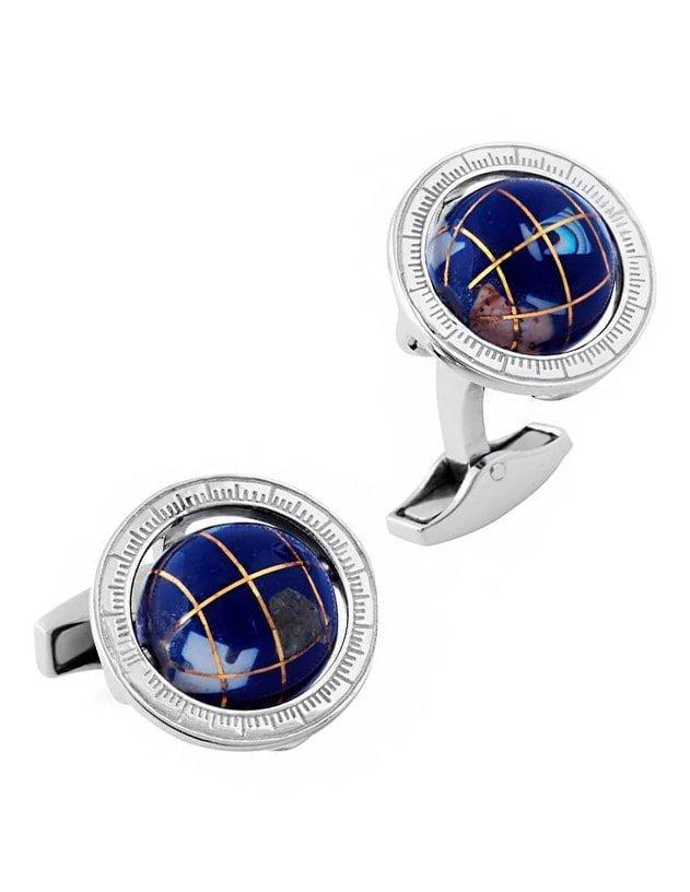 Globe Cufflinks In Silver With Lapis Lazuli, Tateossian