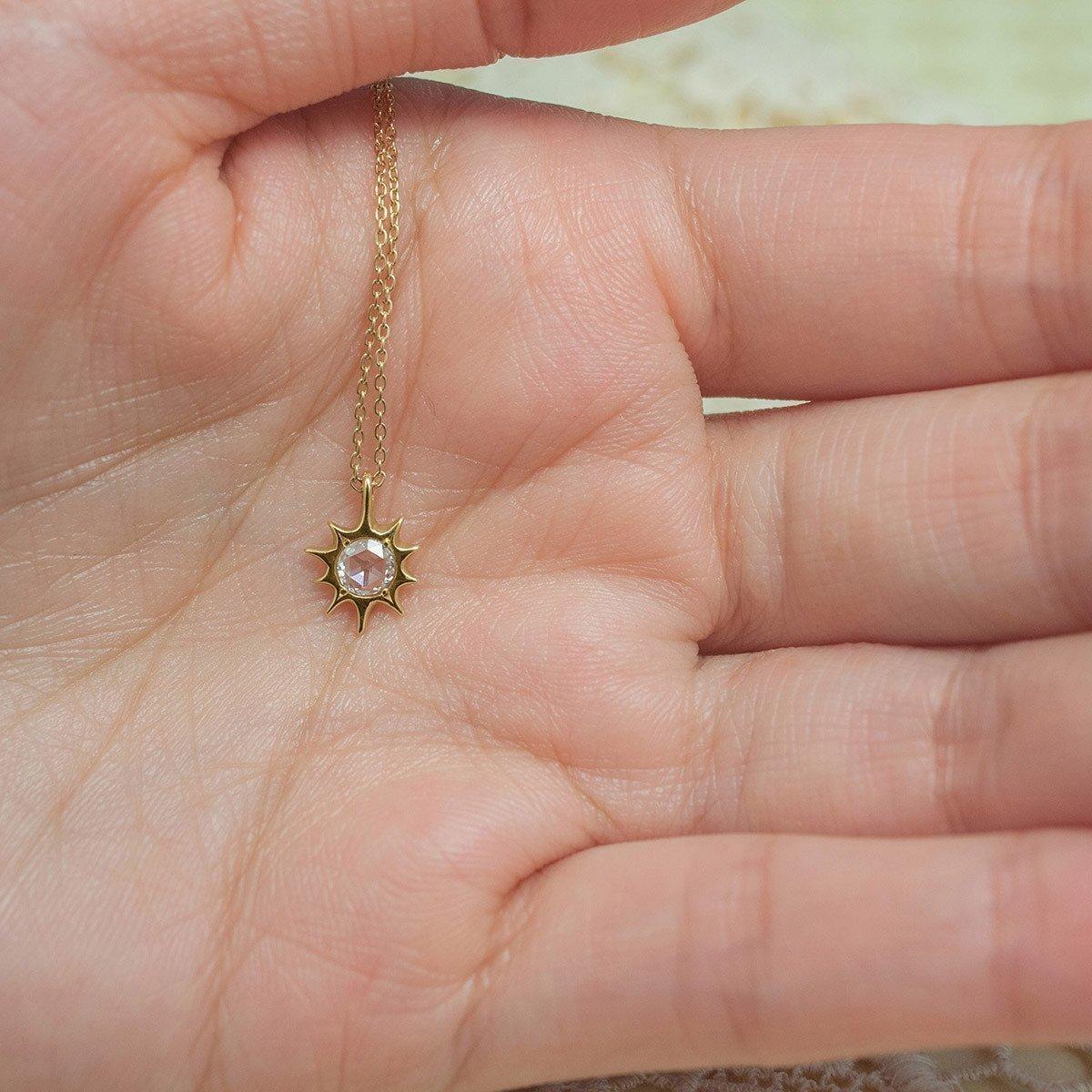 Lani Golden Sun with a Rose Cut Diamond - ileava jewelry