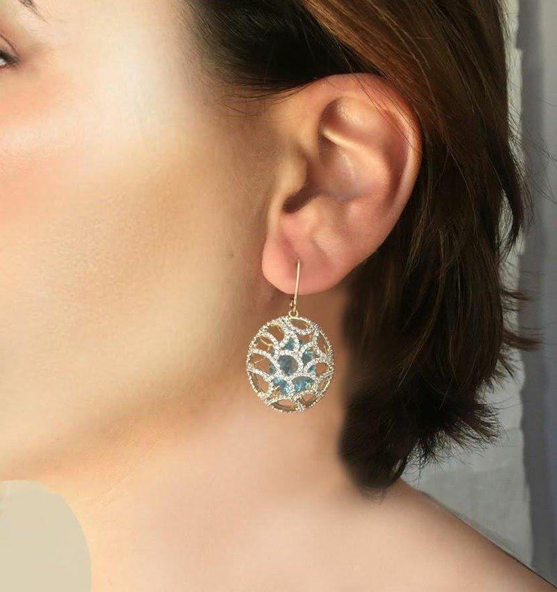 Gold, Topaz & Diamond Cage Earrings | Arya Esha