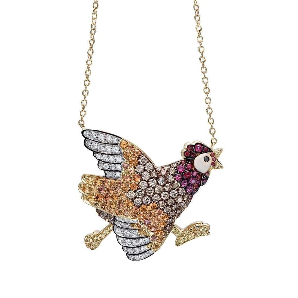 Gold & Sapphire Natural Chic Running Chicken Necklace