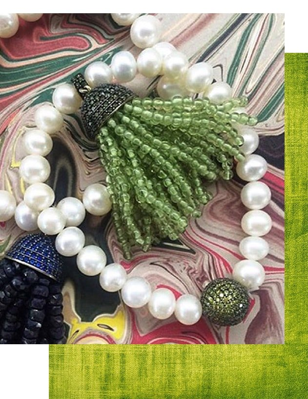 Tassel Pearl Bracelet Peridot, Latelita London