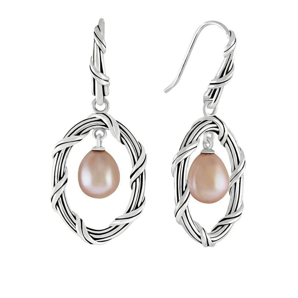 Pearl Oval Drop Earrings Sterling Silver