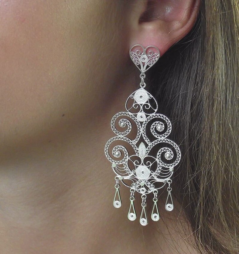Chandelier Silver Filigree Earrings, Agora Jewellery