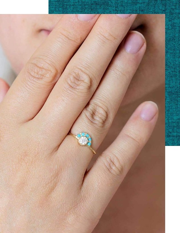 Diamond and Turquoise Engagement Ring