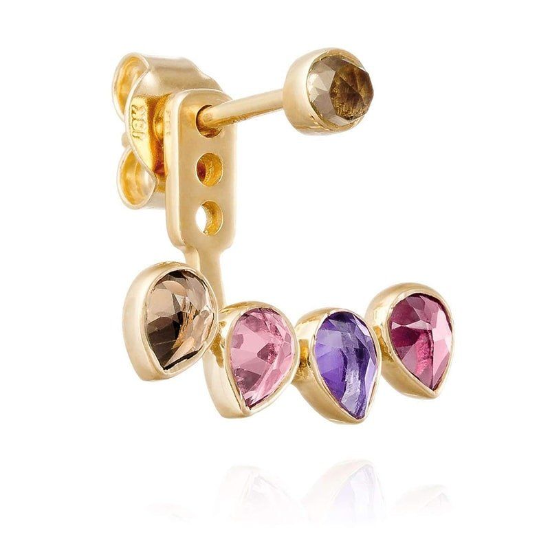 Yellow Gold Ear Stud with Jacket Mosaik, Perle de Lune