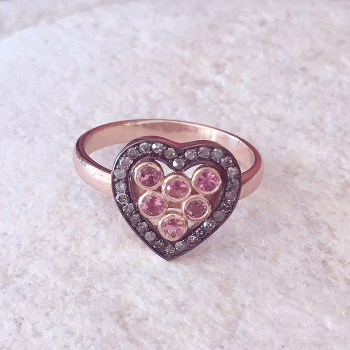 Diamond Heart Pink Tourmaline Ring  -Latelita London