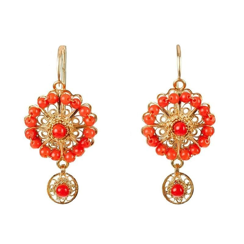 18kt Gold & Coral Rose Circle Earrings, Luis Mendez Artesanos