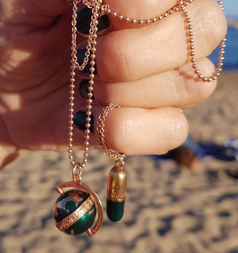 Large Rose Gold Plated Silver & Green Enamel Revolving Globe Pendant, True Rocks