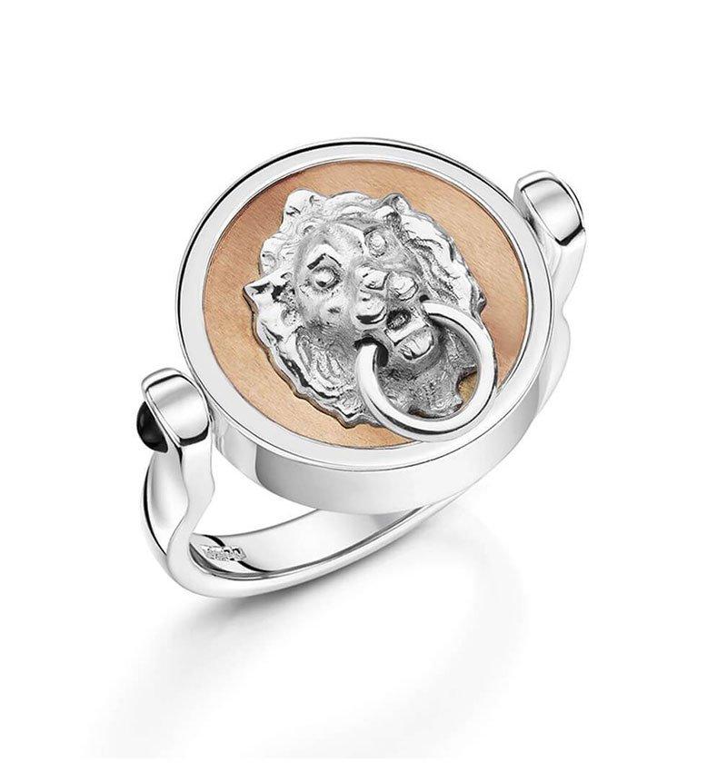 Lion Door Knocker Ring, Blush & Bashful