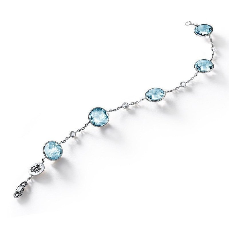 Blue Topaz with White Topaz Accent Bracelet, BCOUTURE