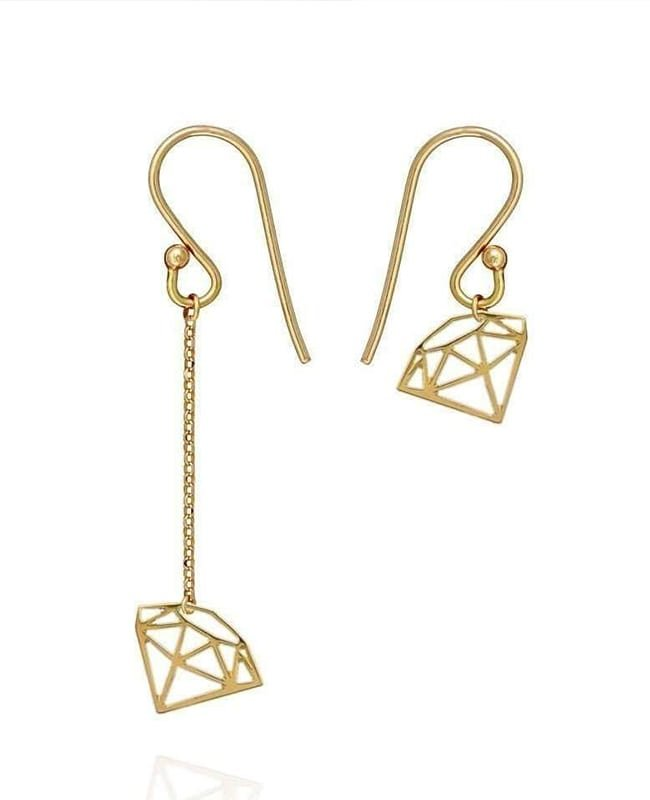 Diamond Cut Earrings 9kt Gold, Perle de Lune