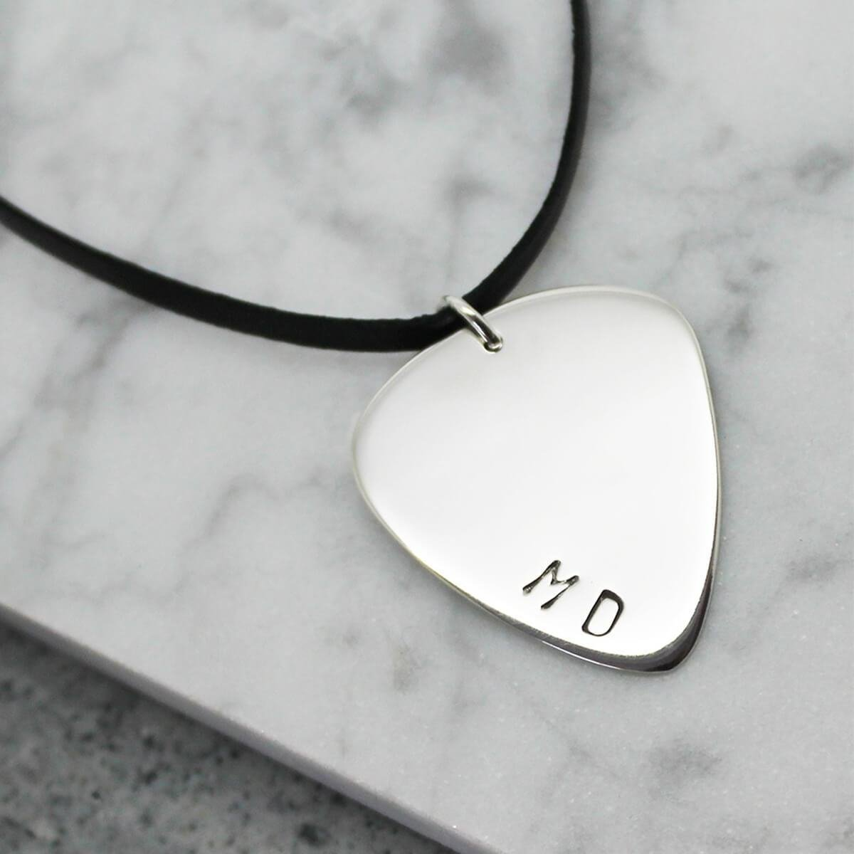 Personalised Guitar Pick Sterling Silver Pendant -  Hilary&June