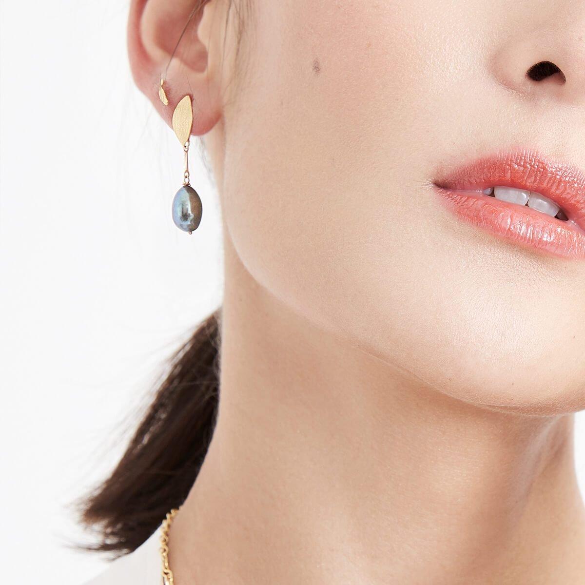 Gold Rita Marquise Stud & Drop Pearl Earrings
