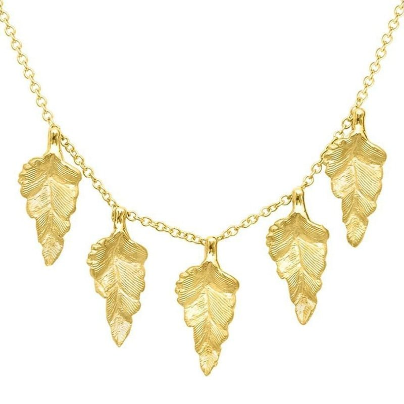 Kew Yellow Gold Leaf Necklace, London Road Jewellery