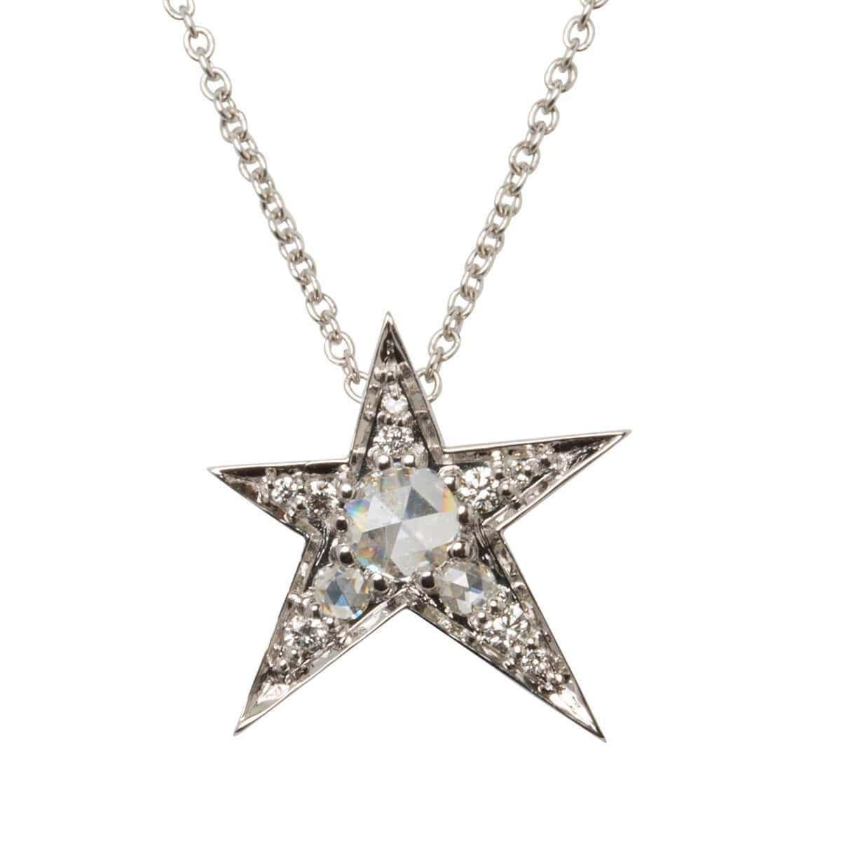 White Gold Rose Cut Diamond Star Pendant