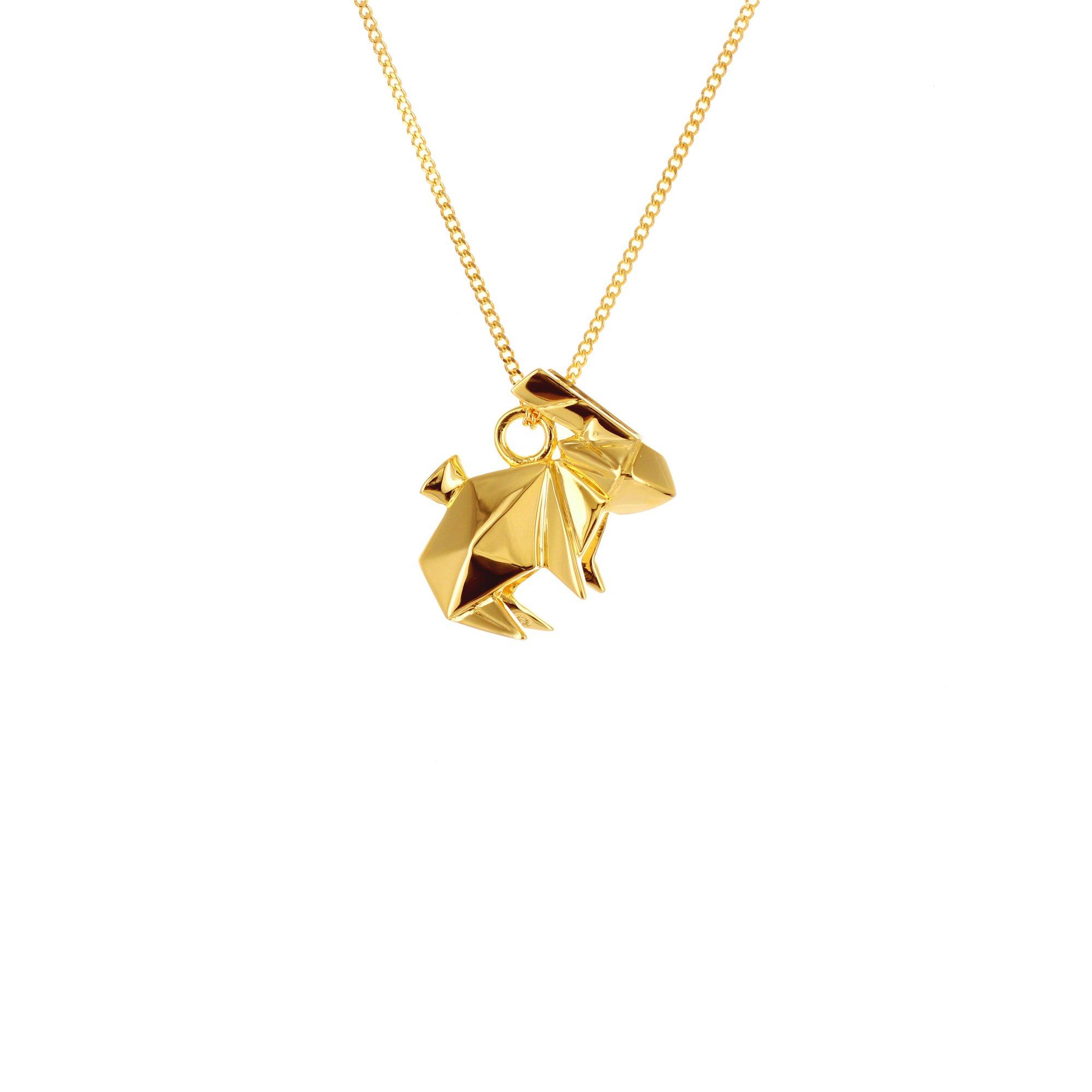 Sterling Silver & Gold Mini Rabbit Origami Necklace